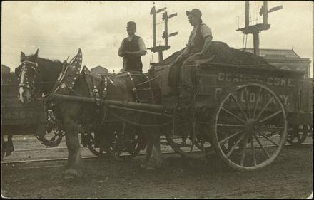 Palmerston North Gas Company horse and cart at railway yard, Main Street