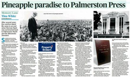 "Memory Lane - ""Pineapple paradise to Palmerston North Press"""