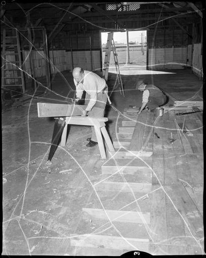 """Preparing For Industries Fair"" Workmen Building Stalls"