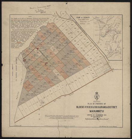 Sale of Land, Blocks V, VI, IX, X & XIII of Kairanga County