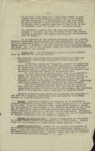 Women's War Service Auxiliary Memorandum Page 2