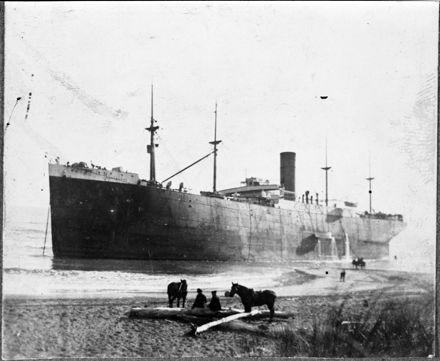 "Steam ship ""Indrabarah"" ashore near mouth of Rangitikei River"