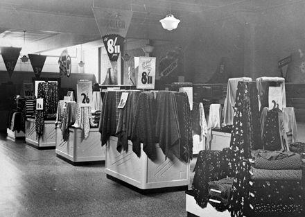 Sewing materials display at Garners, Broadway