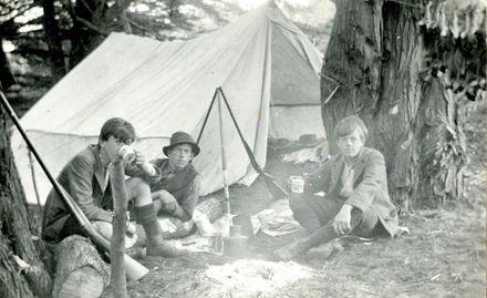 Davis boys at their campsite