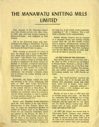The Manawatu Knitting Mills Limited History