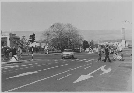 Pedestrians Crossing on Rangitikei Street Corner