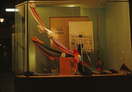 Milne and Choyce window display of Spring fabrics