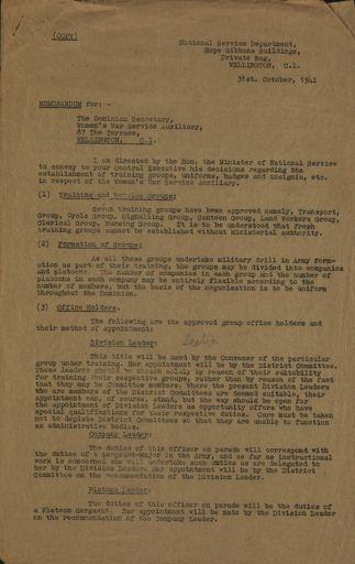 Memorandum to Women's War Service Auxiliary from J. S. Hunter
