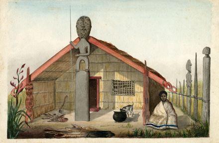 Drawing of Māori meeting house