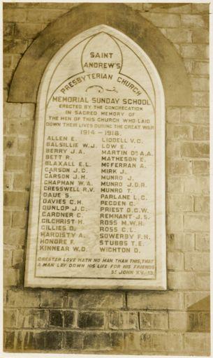 St Andrew's Sunday School Memorial Hall Plaque