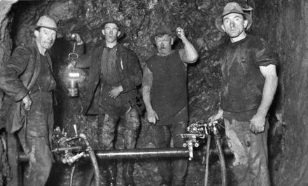 Workers in Arapeti Dam, No 2 Tunnel, Mangahao Electric Power Scheme