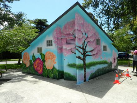 Mural at Victoria Esplanade Scenic Railway Toilets