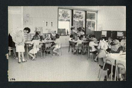 Miss Joy Whitehead, Infant Mistress, teaching in the New Junior Classroom, Aokautere School