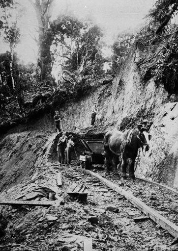 Workmen forming a tramline