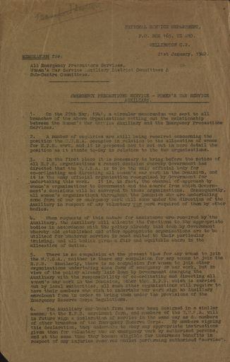 Memorandum from National Service Department 21 January 1942