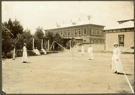 Nurses playing tennis at Palmerston North Hospital