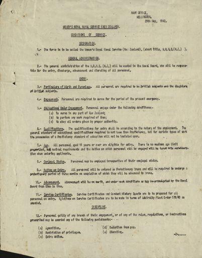 Memorandum: Women's Royal Naval Service (New Zealand) conditions of service.