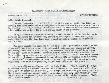 Palmerston North Single Mothers' Group - Newsletter No. 14, October/November 1975