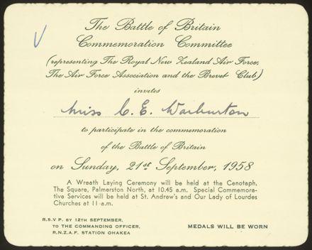 Commemoration of the Battle of Britain invitation