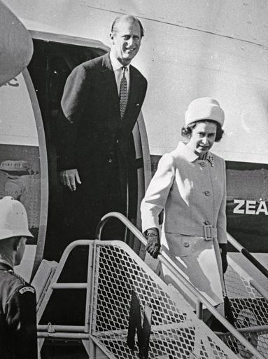Queen Elizabeth II and The Duke of Edinburgh arrive at Milson Airport