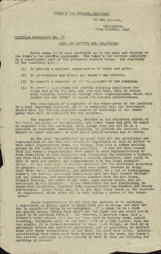 Women's War Service Auxiliary Memorandum No. 19