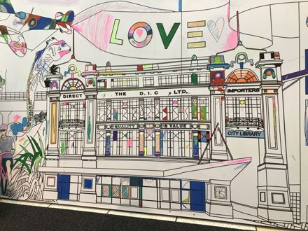 'My Manawatū' colouring-in mural at Plaza Shopping complex