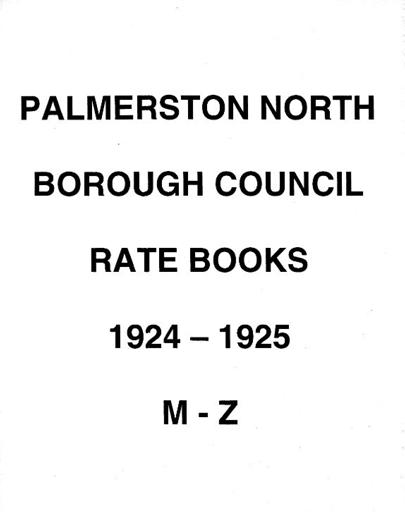 Palmerston North Borough Council Rate Book 1924 - 1925 (M-Z)