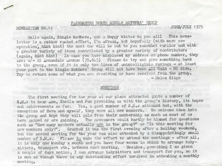 Palmerston North Single Mothers' Group - Newsletter No. 12, June/July 1975