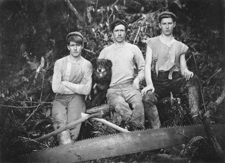 Bushmen and dog