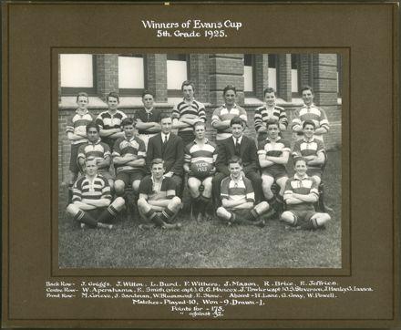 Winners of Evans Cup, 5th Grade 1925
