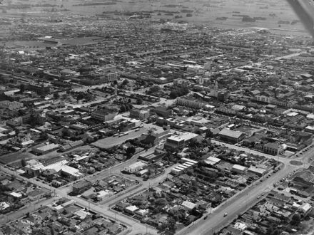 Aerial view of central Palmerston North and beyond