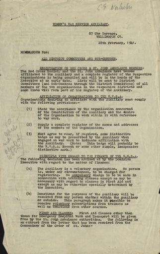 Women's War Service Auxiliary Memorandum