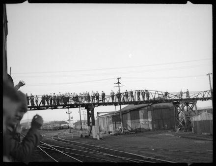 Pedestrians on the Cook Street Foot Bridge