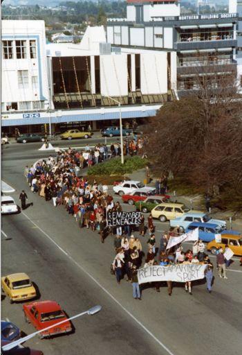 Springbok Tour - protestors in The Square