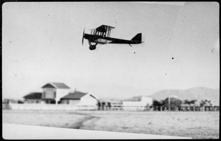 Walsh Brothers DH6 aeroplane leaving Dannevirke