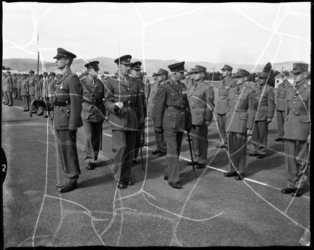 """Brigadier G.P. Cade, D.S.O., Makes Inspection"" at Linton Camp"