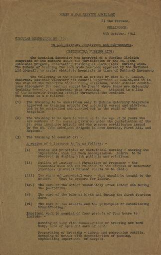 Women's War Service Auxiliary Memorandum No. 16
