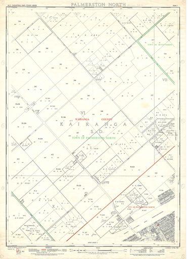 NZ Cadastral Map - Town Series: Palmerston North Map 1