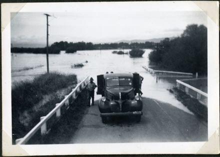 Car on Flooded Road, Rangiotu Flood