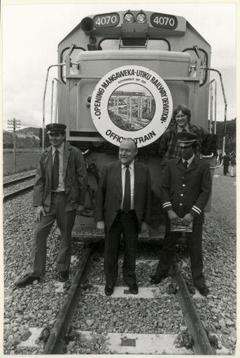 Prime Minister Muldoon at the Mangaweka - Utiku Railway Deviation
