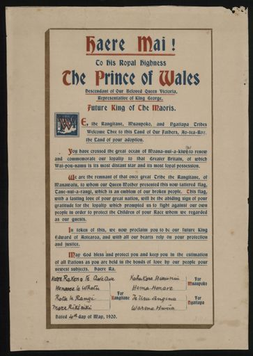 Haere Mai! To His Royal Highness The Prince of Wales 1