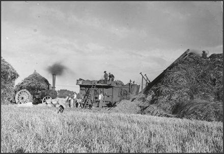Threshing mill at work, Sanson area