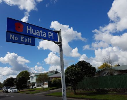 Huata Place street sign with poppy
