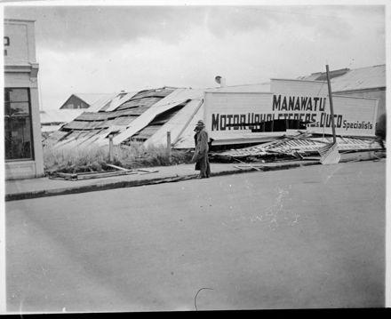 Manawatu Motor Upholsterers - Wrecked Building