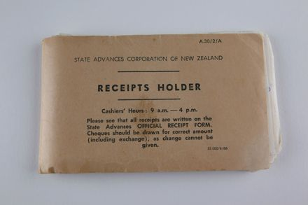 State Advances Corporation of New Zealand - 'Receipts Holder' Booklet
