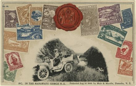 Postcard photograph of motorists in the Manawatu Gorge surrounded by New Zealand stamps