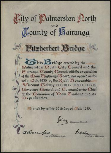 Illuminated notice of the opening of the new Fitzherbert Bridge