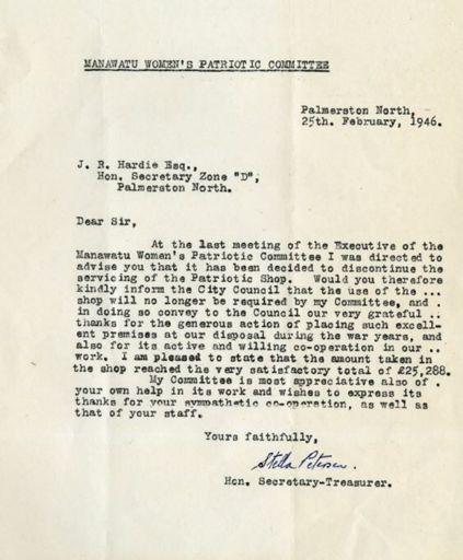 Manawatu Women's Patriotic Committee - Correspondence
