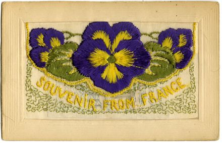Souvenir from France embroidered WWI postcard