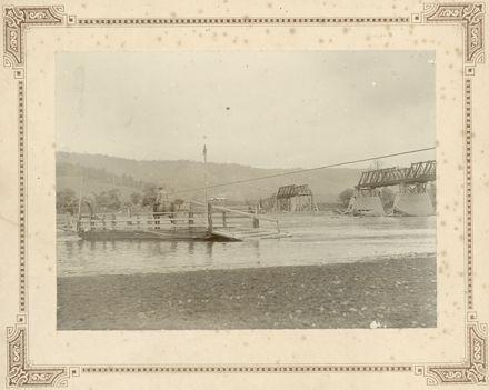 Ashhurst Bridge and Punt, c.1897 flood